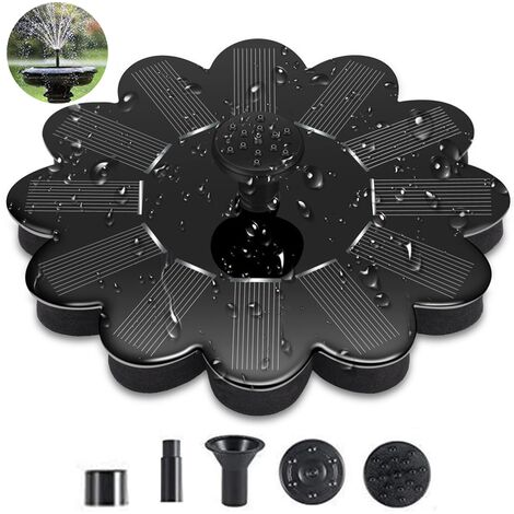 Solar fountain pump, solar powered water fountain panel 1.4 W 4 different spray heads, outdoor irrigation submersible pump for bird bath, pond
