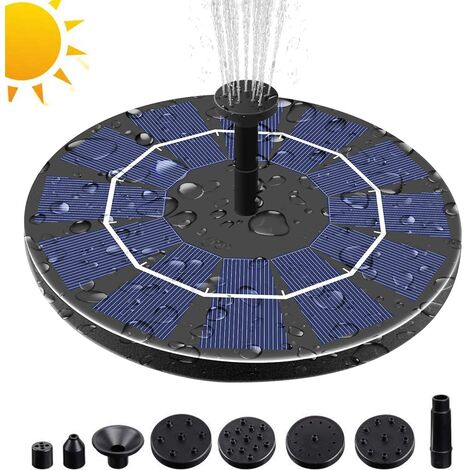 3.0W Solar Fountain Pump for Bird Bath with 3.7V 1200mAh Battery Backup, Free Standing Portable Floating Solar Powered Water Fountain Pump for Garden Backyard Pond Pool Outdoor