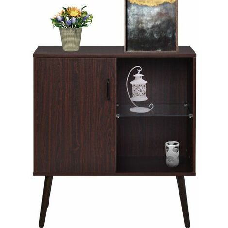 Sideboard with glass and metal handle,Retro storage cabinet,Simple cupboard