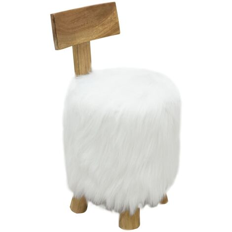 Stool White Solid Teak Wood - White