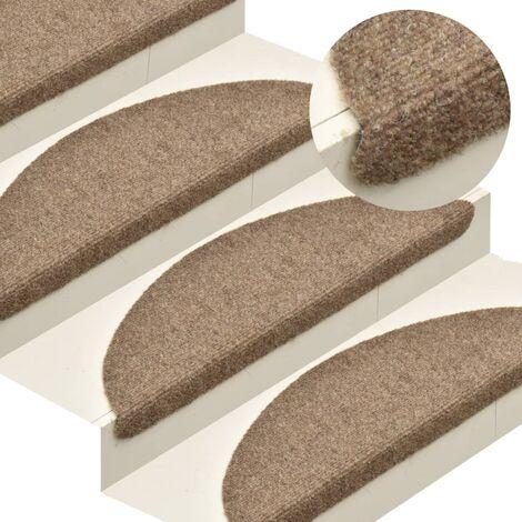 Self-adhesive Stair Mats 15 pcs Cream 56x17x3 cm Needle Punch - Cream