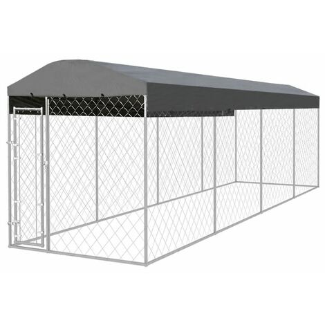 Outdoor Dog Kennel with Roof 8x2x2.4 m - Silver
