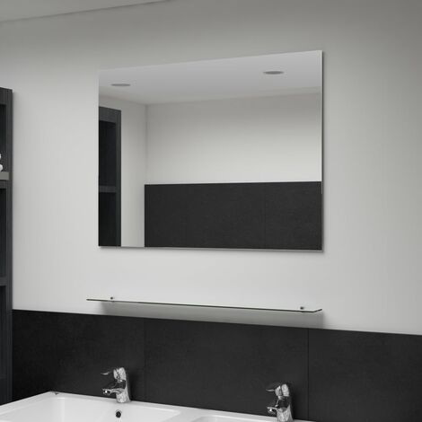 Wall Mirror with Shelf 80x60 cm Tempered Glass - Silver