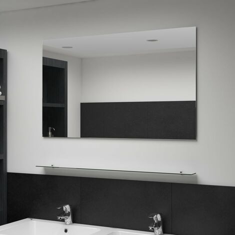 Wall Mirror with Shelf 100x60 cm Tempered Glass - Silver
