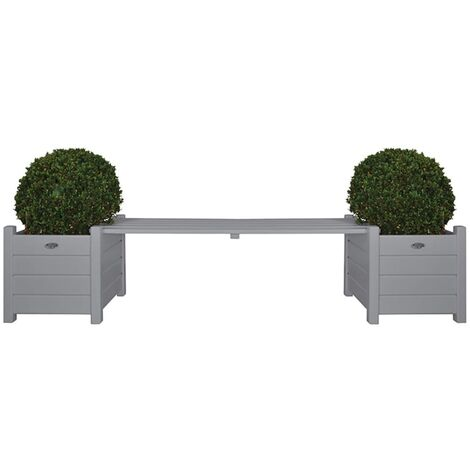 Esschert Design Planters with Bridge Bench Grey CF33G - Grey