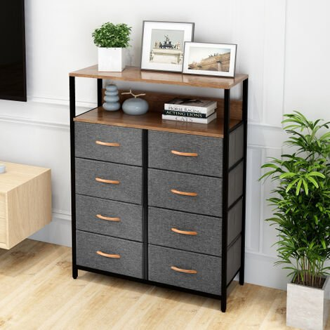 Chest of Drawers Unit Storage Cabinet 8 Drawers Storage Cabinet with Metal Frame Adjustable Feet Hallway Home Dresser