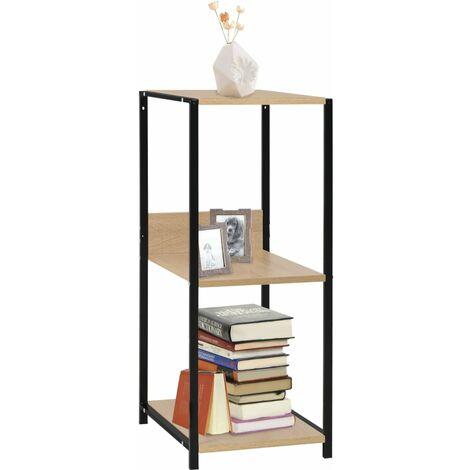 Small Straight Book Shelf Black and Oak 33.5x39.6x79.7 cm Chipboard - Black