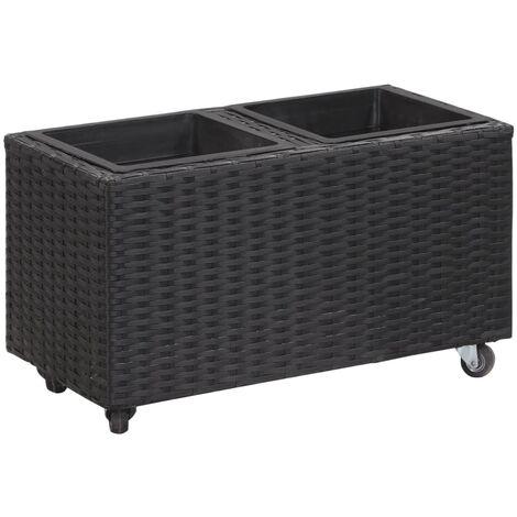 Garden Raised Bed with 2 Pots 60x30x36 cm Poly Rattan Black - Black