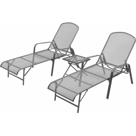 Sun Loungers 2 pcs with Table Steel Anthracite - Anthracite