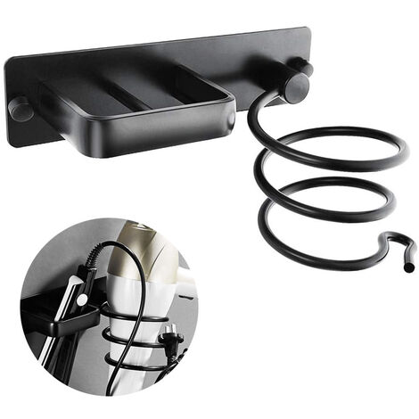Aluminum Hair Dryer Holder & Hair Straightener Holder Hair Dryer Organizers Hair Dryer Holder Wall Mount (Need to Punch), Black