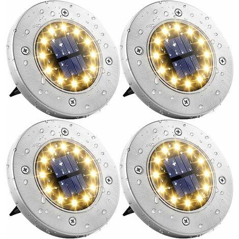 4 pieces solar garden lights 12 LEDs solar floor light outside solar garden lights warm white