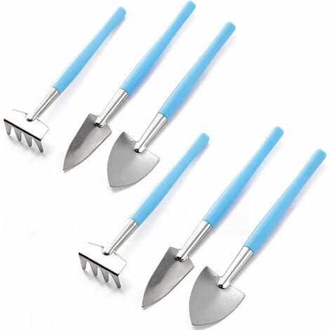 Mini Gardening Tools Set, 6 Pcs / Set Mini Gardening Tool - Mini Rake, Trowel and Shovel for Flowerpot, Succulents, Plants, Bonsai and Planting