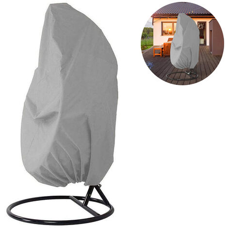 Hanging chair protective cover, floating chair hanging chair cover 190 x 115 cm, waterproof, wind-repellent, winter-proof, balcony outdoor 420D oxford fabric with PVC cover, drawstring, gray