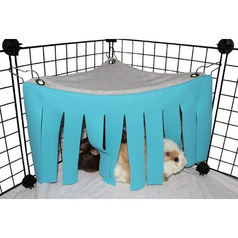 Hammock tent for small animal hamster Cage Accessories Nest Bed for guinea pig, chinchilla, hedgehog, rat, squirrel, ferret, dwarf rabbit (blue)