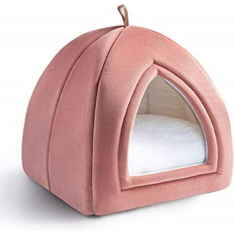 Pink Cat Kennel 35x35x38cm - 2 in 1 Cat Basket with Domes - Removable Cushion for Cat or Small Dog - Tent / Bed / Foldable House for Pets