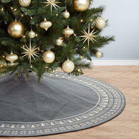 Christmas Tree Skirt, 90cm Knitted Christmas Tree Skirt with Thick Christmas Tree Snowflake Rustic Holiday Decorations Rug Foot Cover Fir Tree Skirt (Gray, 90cm)