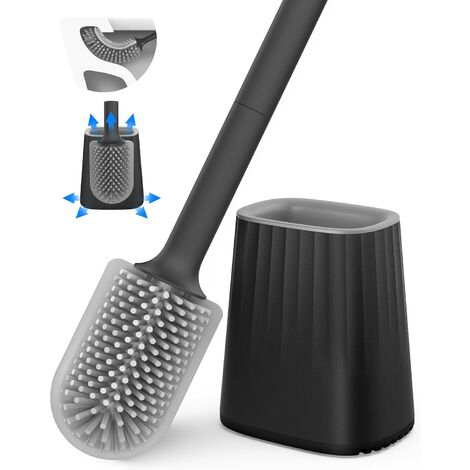 Toilet Brush, Silicone Toilet Brush Set with Wall Mount and Floor Stand, Double Sided Cleaning Brush Head, Long Handle and Container