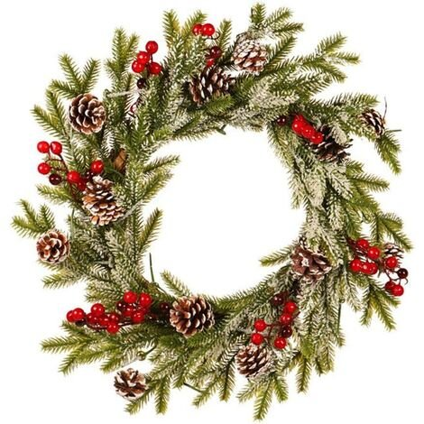 Artificial Wreath Front Door Decoration, Christmas Wreath Door Inside And Outside Ideal Christmas Deco For Stores, Offices, Christmas Tree