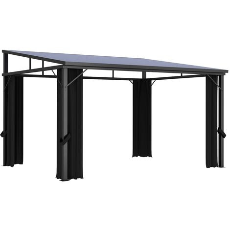 Gazebo with Curtain 405x294x244 cm Anthracite - Anthracite
