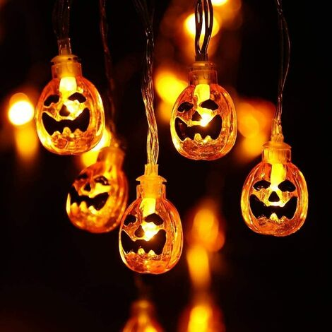 Halloween Decoration, Battery Operated Orange Pumpkin Garland 2.9M 20 LED Outdoor String Lights for Halloween Decoration