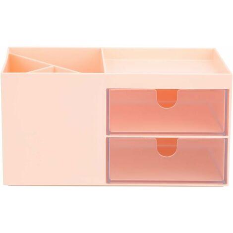 Desktop Makeup Organizer Drawer Jewelry Stationery Storage Box (Pink)