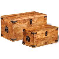 Storage Chest Set 2 Pieces Rough Mango Wood - Brown