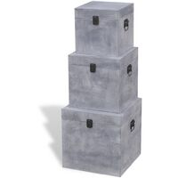 Storage Box Concrete 3 pcs Square Grey MDF - Grey