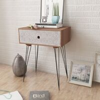 Nightstand with 1 Drawer Rectangular Brown - Brown