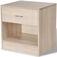 Nightstand 2 pcs with Drawer Oak Colour - Brown