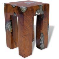 Stool Solid Teak Wood and Resin - Brown