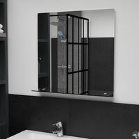 Wall Mirror with Shelf 60x60 cm Tempered Glass - Silver