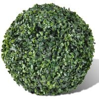 Artificial Leaf Topiary Ball 27 cm Solar LED String 2 pcs - Green