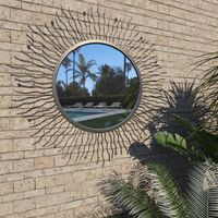 Garden Wall Mirror Sunburst 80 cm Black - Black