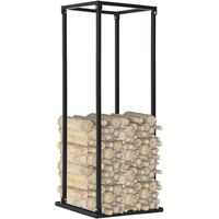 Firewood Rack with Base Black 37x37x113 cm Steel - Black