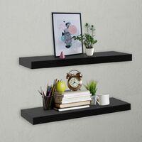Floating Wall Shelves 2 pcs Black 60x20x3.8 cm - Black