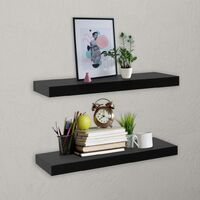 Floating Wall Shelves 2 pcs Black 40x20x3.8 cm - Black