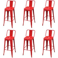 Bar Stools 6 pcs Red Steel - Red
