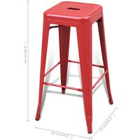 Bar Stools 4 pcs Red Steel - Red