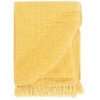 Throw Cotton 160x210 cm Mustard Yellow - Yellow