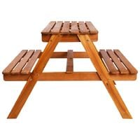 Kids Picnic Table with Parasol 79x90x60 cm Solid Acacia Wood - Brown