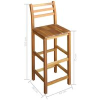 Bar Chairs 2 pcs Solid Acacia Wood - Brown