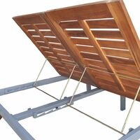 Double Sun Lounger Solid Acacia Wood - Brown