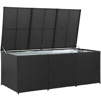 Garden Storage Box Poly Rattan 180x90x75 cm Black - Black