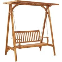 Garden Swing Bench with Trellis Solid Acacia Wood - Brown