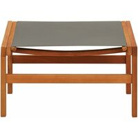 Garden Chair with Footrest Grey Solid Eucalyptus Wood and Textilene - Grey