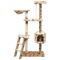Cat Tree with Sisal Scratching Posts 150 cm Paw Prints Beige - Multicolour