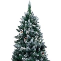 Artificial Christmas Tree with Pine Cones and White Snow 180 cm - Green
