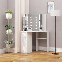 Corner Dressing Table Make-up Table with LED Light White - White