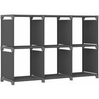 6-Cube Display Shelf Grey 103x30x72.5 cm Fabric - Grey