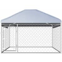 Outdoor Dog Kennel with Roof 200x200x135 cm - Silver